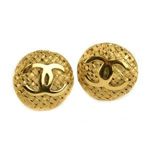 CHANEL Gold-Plated Basket Weave CC Earrings (rt)